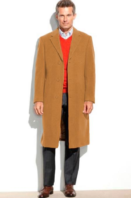 Product# SM4824 Camel Mens 95% Wool Overcoat ~ Topcoat (Cashmere Touch (not cashmere))