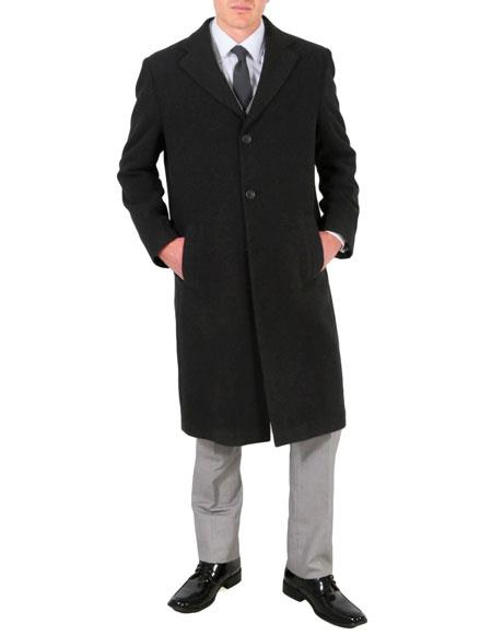 Mens Wool/Poly Charcoal Overcoat