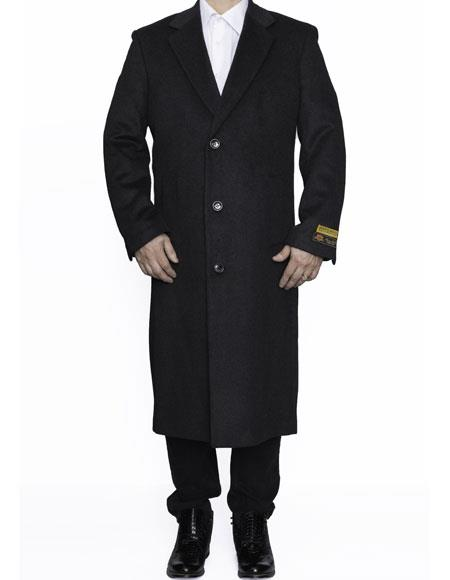 Product# CH1877 Mens Full Length Wool Dress Top Coat / Overcoat in Charcoal Authentic Reg:$700 Designer Alberto Nardoni Best Mens Italian Suits Brands now on Sale