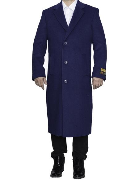 Product# CH1880 Mens Full Length Wool Dress Top Coat / Overcoat in Indigo Blue