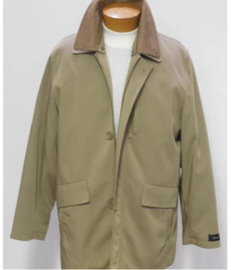 Product# JSM-1983 Men's Khaki 3/4 Rain Coat