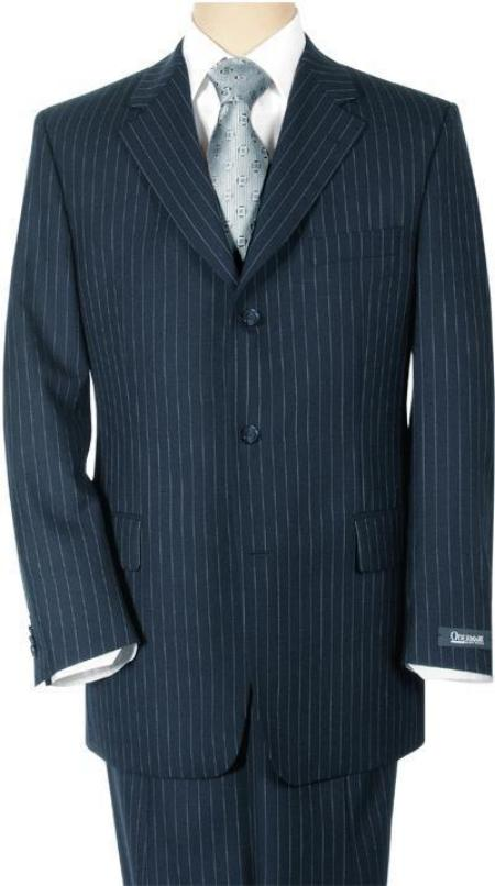 Conservative Navy Blue Shade Pinstripe premier quality italian fabric Superior Fabric 140's Wool Fabric