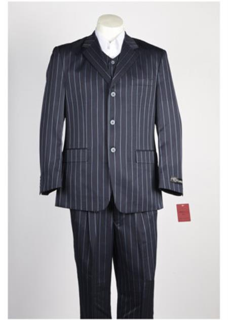 3 Button Navy Single Breasted Linen Suit