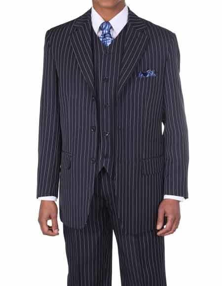 Product# JSM-339 Men's Navy/White 3 Button Vested 3 Piece Pinstripe ~ Stripe With Vest Bold Chalk Stripe Suit