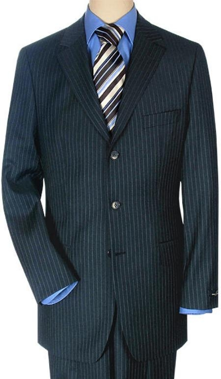 Product# RSK2 3 Buttons Style Italian Small Navy Pinstripe premier quality italian fabric Superior Fabric 140 Wool Fabric $225 Compare at