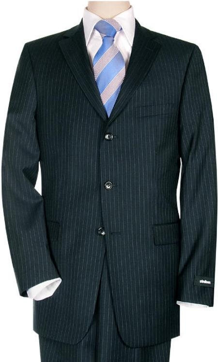 Dark Navy Pinstripe premier quality italian fabric Superior Fabric 150 Wool Fabric 3 Buttons Style $225 Compare at