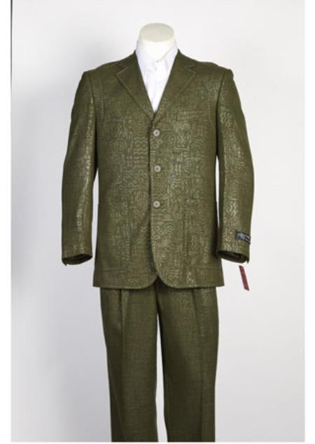 Product# JSM-108 Mens 3 Button Olive Single Breasted Shiny Flashy Paisley Floral Suit Olive