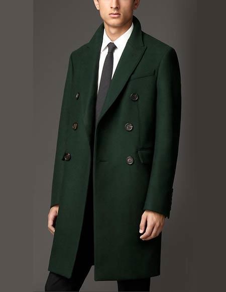 Product# JSM-3203 Men's Long 3 Button Peak Lapel Olive Green Overcoat