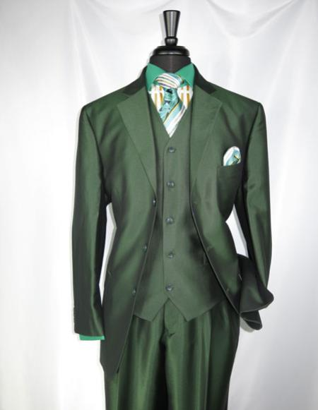 Product# CH2437 mens high fashion Single Breasted Sharkskin Olive Green vested suit
