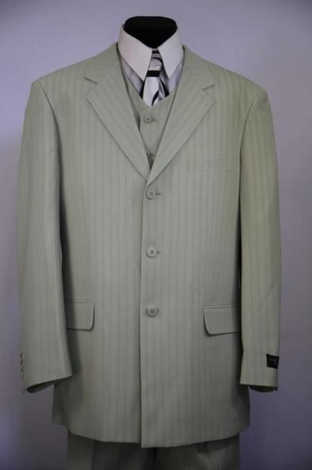 Product# JA127 Mens Notch Lapel Flap Pocket Striped 3pc Zoot Suit Sage
