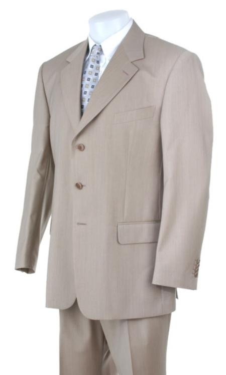 Product# MU203 Stone~Sand~Khaki~Light Tan khaki Color ~ Beige Light Weight Suit 3 Buttons Style