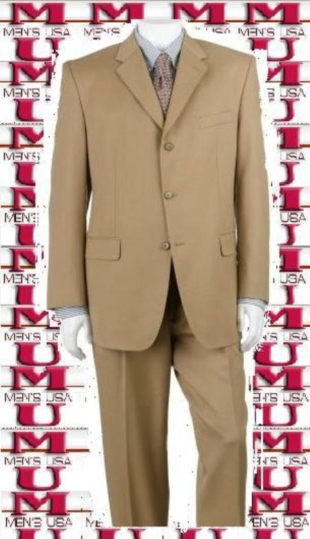 Bronz/Gold Close to Tan khaki Color ~ Beige Shade Suit Luxurious Business Superior Fabric 140's 3 Buttons Style Suit