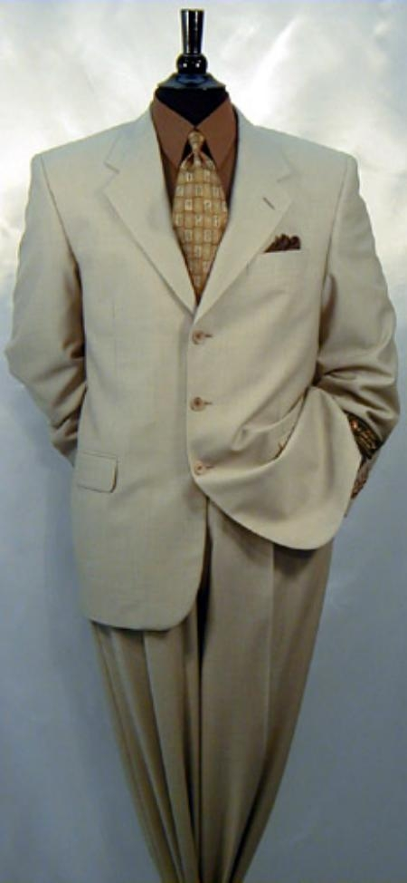 Beige Single Breasted Pleated Slacks Pants Wool Fabric & Cashmere Solid premier quality italian fabric Suit