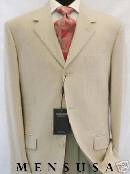 LK378 Very Light Tan khaki Color ~ Beige Summer Suit Light Weight 3 Button Style Suits for Online