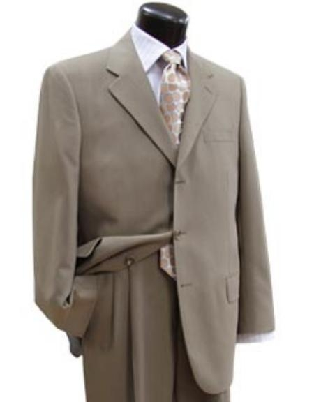MU203 Stone~Sand~Khaki~Light Tan khaki Color ~ Beige Light Weight Suit 3 Buttons Style