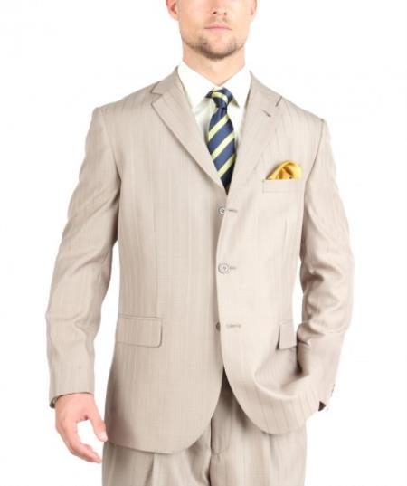 Tazio Suit Three Button Tone on Tone Shadow Stripe ~ Pinstripe Traditional Fit -Tan khaki Color ~ Beige