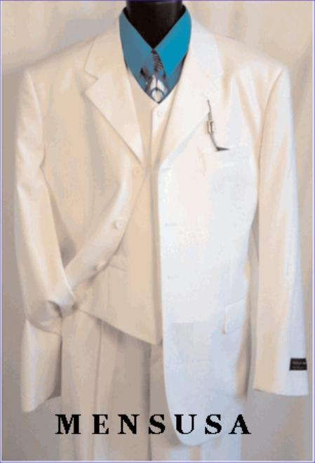 TS03V WHITE EXTRA FINE Light Weight Soft Fabirc 3PC VESTED SUIT.