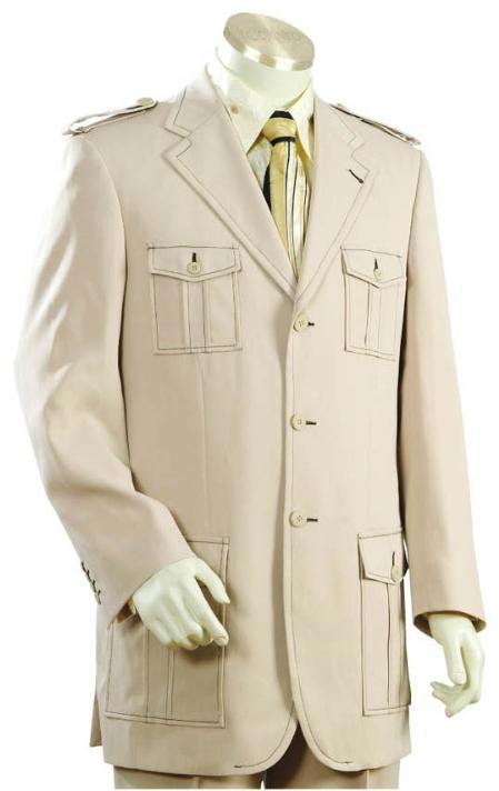 3 Button Style Cane Beige Suit