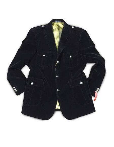 Product# AP661 Mens Black 3 Buttons Single Breasted Notch Lapel Military Blazer