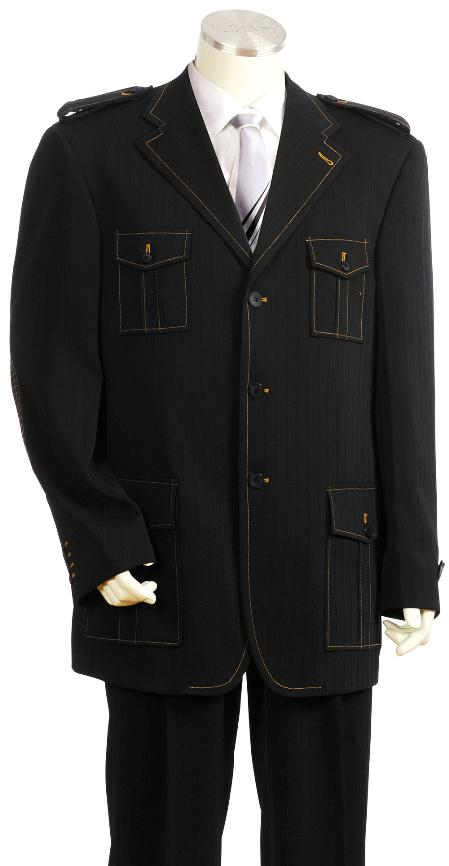 RD9456 Exclusive 3 Button Style Liquid Jet Black Safari Military Style Long length Zoot Suit
