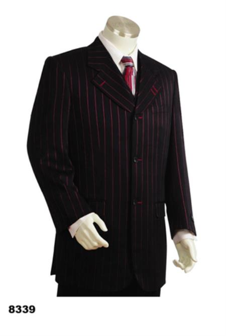 Product# PN_G70 Chalk pronounce visible Pronounce Gangster Pinstripe 3 Button 1920s 40s Fashion Clothing Look ! Style Vested Wide Leg Pants 34 Inch Jacket Notch Collar Red/Black