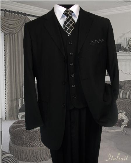 Classic 3PC 3 Button Style Solid Liquid Jet Black Vested Suit With Flat Front Pants