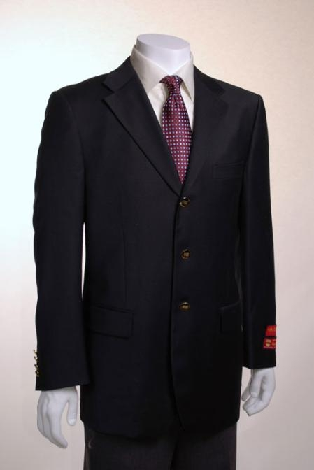 Jacket/Blazer Online Sale 3 Button Style Vented Solid Liquid Jet Black Wool Fabric