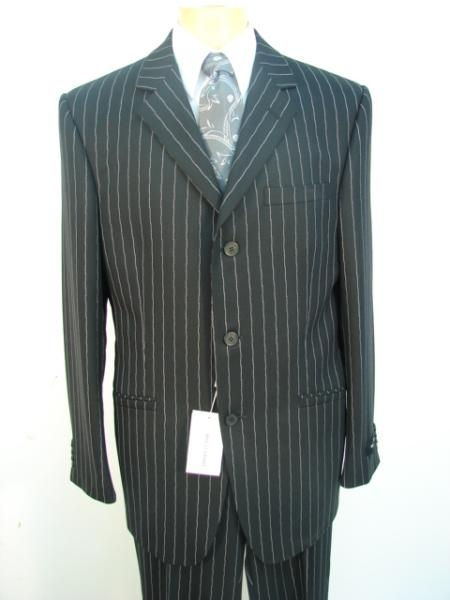 Stripe ~ Pinstripe 3 Buttons Style Jet Liquid Jet Black Chalk Superior Fabric 120's Worsted Superior Fabric fine Wool Fabric feel poly~rayon