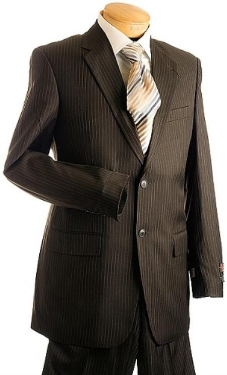 Product# HW3420 3 Button Style brown color shade Pin Stripe ~ Pinstripe Suit brown color shade