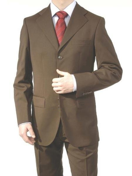 Product# A63_3P Dark brown color shade Superior Fabric Wool Fabric Feel Poly~Rayon 3 Buttons Style Dress Business Suits for Online