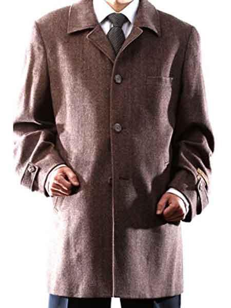 Product# JSM-921 Men's Brown 3 Buttons Herringbone Tweed Notch Lapel Luxury Wool/Cashmere Back Vent Carcoat