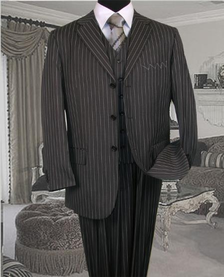Product# SKU6529 TS-35 pronounce visible Chalk Pronounce 3 Piece 3 Button Style COLOR Dark Grey Masculine color VESTED three piece suit WITH PINSTRIPE