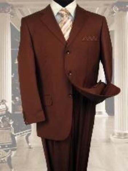 Product# NS021 Exclusive Light Weight Copper~Rust~cognac 3 Button Style Suit Hand Made 