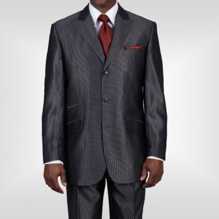 Product# PN2341 Ticket Pocket 3 Button Style Peak Lapel Dark Gray Sharkskin Shiny Flashy Metallic Jacket & Pants 1940s Mens Suits Style