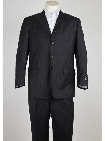 Men's Single Breasted 3 Button Style Indigo Pinstripe Notch Lapel Wool Fabric Suit