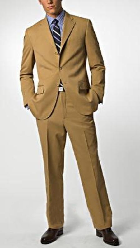 Dark Camel ~ Khaki/Bronz/Tan khaki Color 3 Buttons Style Superior Fabric 150's Wool Fabric Feel Poly-Rayon premier quality italian