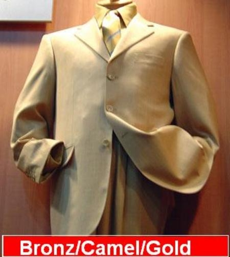 Khaki/Bronz~Khaki Tan khaki Color ~ Beige 3 Buttons Style Synthetic Light & Soft Fabric Poly~Rayon Suits for Online