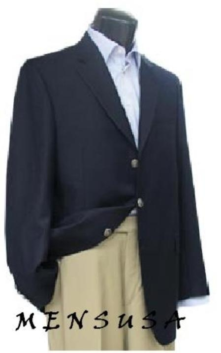 3 Button Style Navy Blue Shade patterned 100% Wool Fabric Blazer Online Sale with Metal Buttons