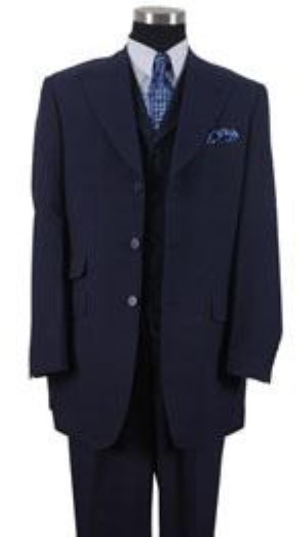 Peak Lapel  1920s 40s Fashion Clothing Look ! Vested 3 Piece Ticket Pocket Vested 3 Buttons Style Wide Leg Pants Navy