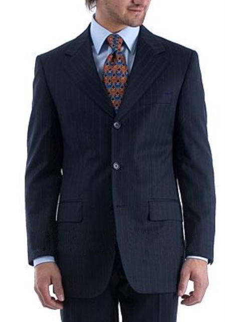 Product# SQY457 $1295 TSK2 Umo 3 Buttons Style Rich Navy Pinstripe Superior Fabric 140's Wool Fabric premier quality italian fabric suit