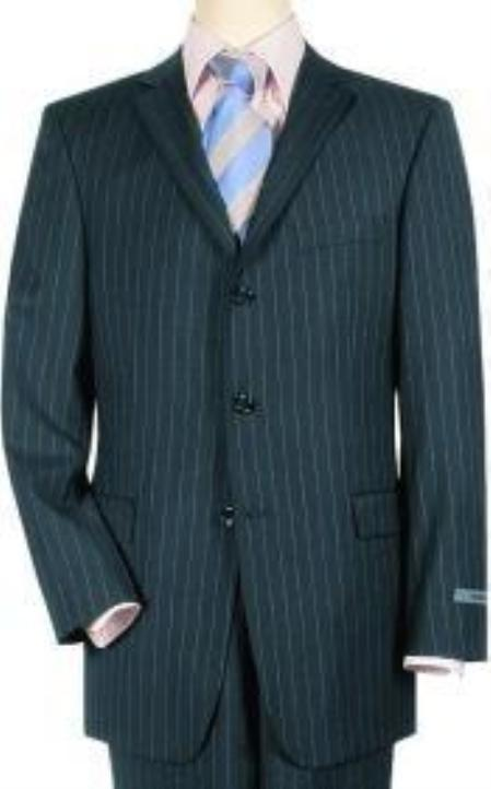 Navy Pinstripe premier quality italian fabric Superior Fabric 140 Wool Fabric 3 Buttons Style