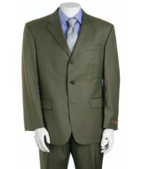 Product# ZLk9 Forest Olive Green 3 Button Styles 3 Button Style Busines Suits for Online in Superior Fabric 130's Marina Wool Fabric