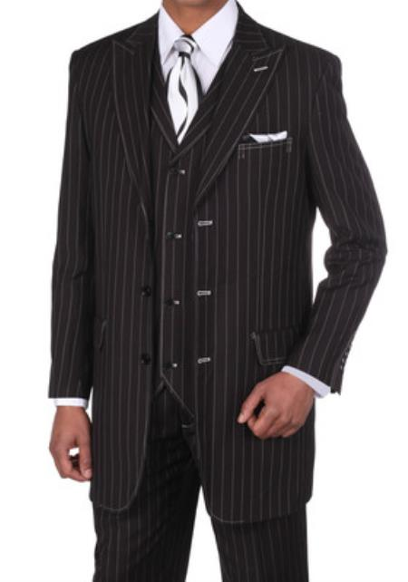 Classic pronounce visible Chalk Gangster Stripe 3 Button Style Pinstripe 1940s men's Suits Style for Online w/Vest Liquid Jet Black with White Stitching