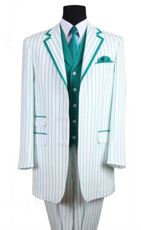 Product# PN_B63 3 Button Style Single Breasted 35 Inch White/Turquoise Summer Cheap priced Mens Searsucker Seersucker Sale Fabric Pinstriped Tuxedo Look Vested 3 Piece