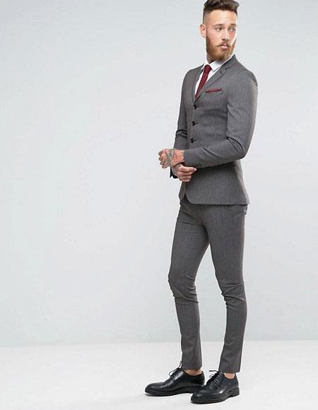 Three Buttons Slim Fitted Suit