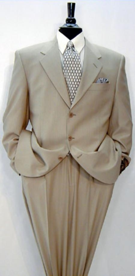 SNN123 Luxeriouse High End UMO Collezion 3 Buttons Style full canvas 100% Wool Fabric Solid Tan khaki Color ~ Beige premei