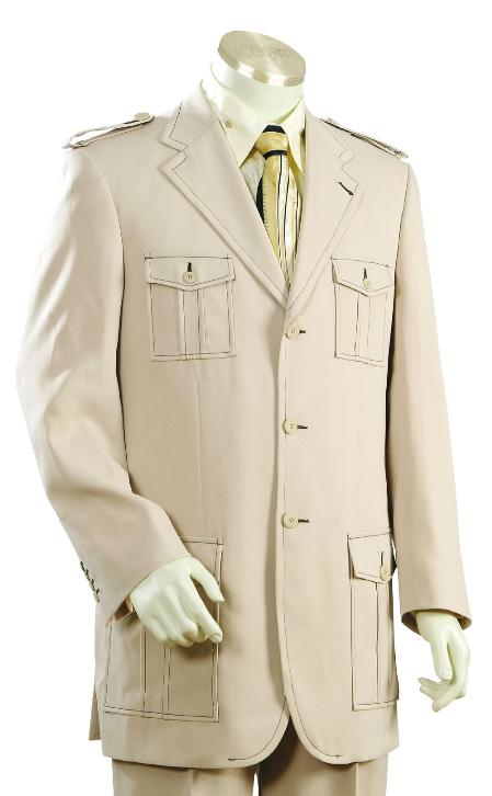 YR8920 Fashionable 3 Button Style Taupe