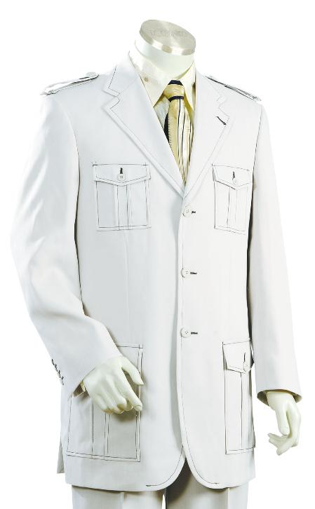 Product# TK7810 3 Button Style Fashion SAFARI Long Sleeve ( military style ) Suit For sale ~ Pachuco Mens Suit Perfect for Wedding White