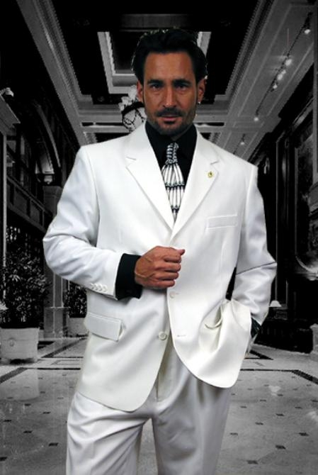 3 Buttons Style Solid WHITE EXTRA FINE 2PC Single breast SUIT