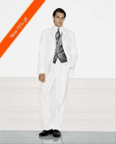 White Wedding Suit Notched